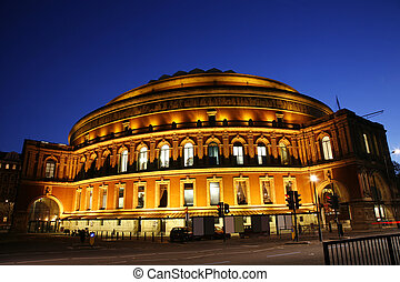 Royal Albert Hall at Night - Concert hall located in the...