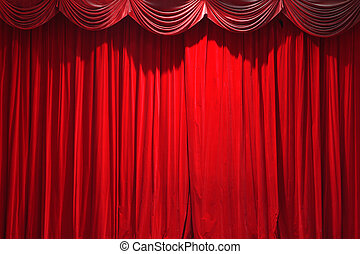 curtain of a classical theater - red closed curtain of a...