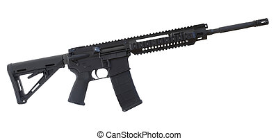 Assault rifle - Black assault rifle with an adjustable stock...
