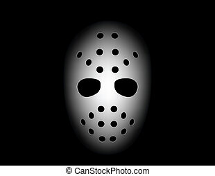hockey mask on black background
