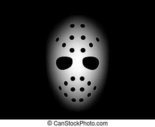 hockey mask on black background