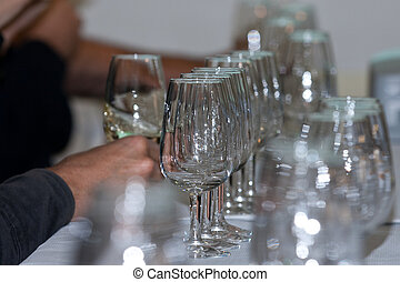 Glasses of catavino for txakoli - Several Spanish glasses...