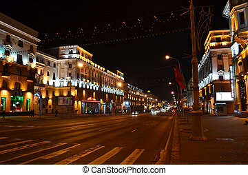 Independence Avenue at night, Minsk