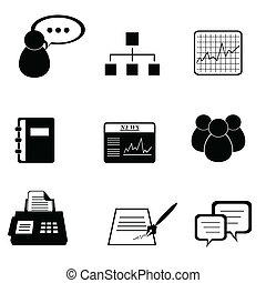 Business icon set in black
