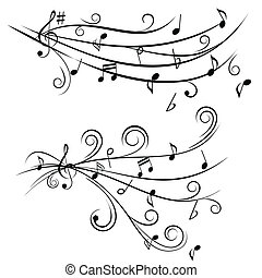 Music notes on staff - Music notes on swirl shaped staves