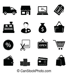 Shopping icon set in black