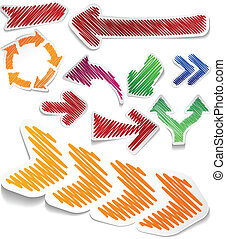 Scribbled color arrows set - Scribbled collection of arrows...