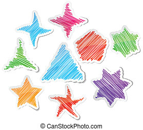 Hand drawn stars set - Scribbled collection of stars...
