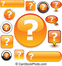 Question orange signs. - Question vector glossy icons.