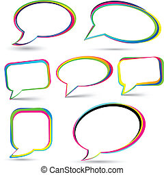Speech signs set. - Vector illustration of speech color...