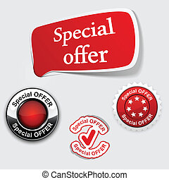 Red set of Special offer labels. - Vector illustration of...