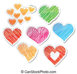 Hand drawn heart set. - Scribbled collection of heart...