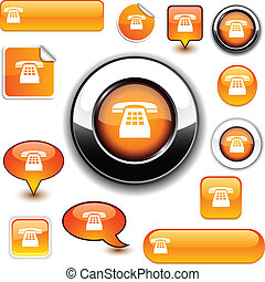 Telephone signs. - Telephone vector glossy icons.