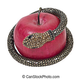 Temptation with Snake and Apple - Temptation shown by a...