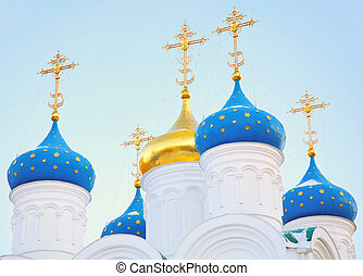 Domes of Church blue sky background