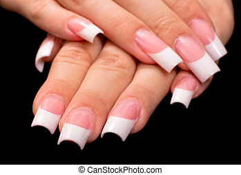 French manicure - Beautiful hands with french manicure on...
