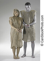 begging poor couple - studio photography of a begging couple...