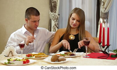 Dining Out - couple enjoying some  plates a restaurant