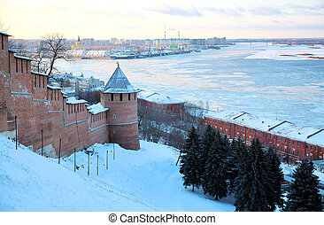 November view Strelka from Nizhny Novgorod Kremlin