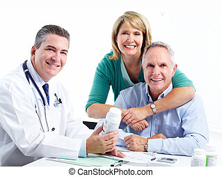 Doctor and patient senior couple.