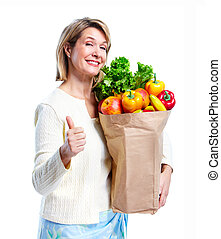 Senior woman with a shopping bag.