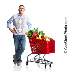 Man with a grocery shopping cart. Isolated over white...