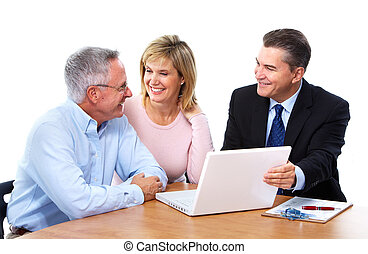 Senior couple with financial adviser. - Senior couple with a...