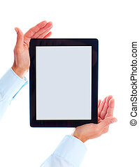 Tablet computer - Hands with tablet computer Isolated on...