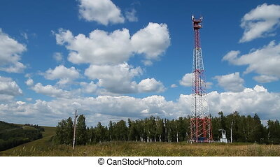 Communications tower 007 - High transmitter tower against...