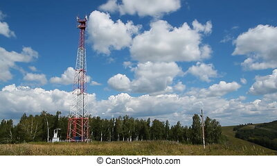 Communications tower 008 - High transmitter tower against...