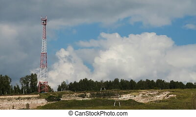 Communications tower 009 - High transmitter tower against...
