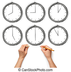 sketch clock with human hands with pencil and eraser