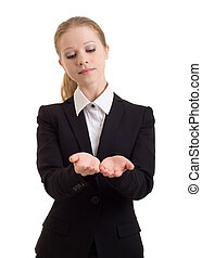 Business woman presenting something imaginary over white