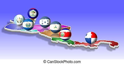 Central America - A map of seven Central American countries...