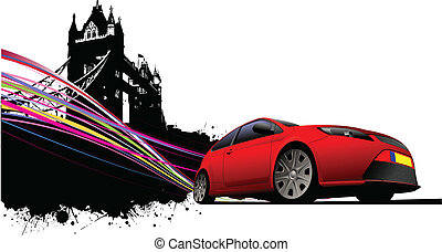 London on Tower bridge and red car coupe images. Vector...