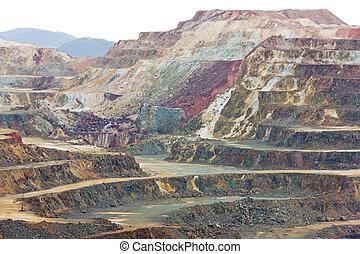 miedź, od, riotinto, Andalusia, minas, kopalnia, Hiszpania...