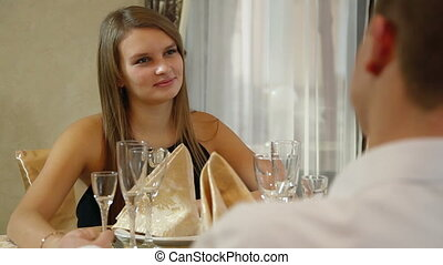 romantic dinner date - couple having a romantic dinner date...