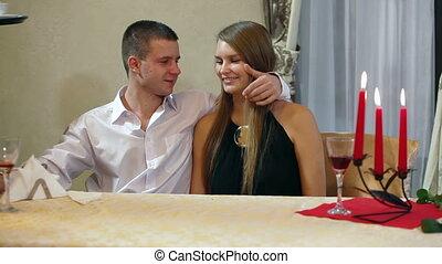couple having dinner in restaurant - couple having dinner at...