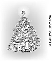 Christmas tree - Hand drawn Christmas tree and gifts