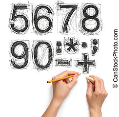 sketch letters and numbers with hand and pencil with...