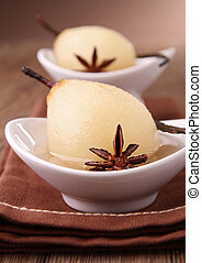 poached pear - gourmet poached pear