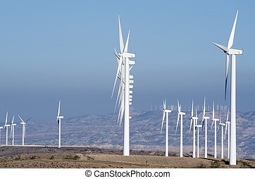 windmills - aligned windmills for renowable electric...