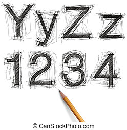sketch letters and numbers with pencil new - sketch letters...
