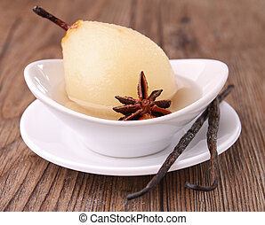 poached pear with vanilla