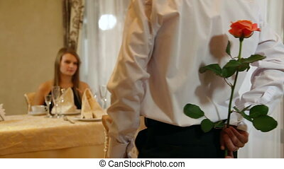 couple meeting at restaurant