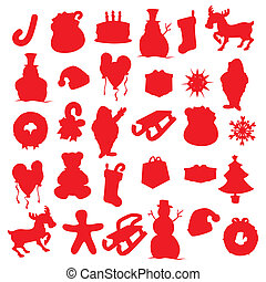 isolated Christmas items silhouette