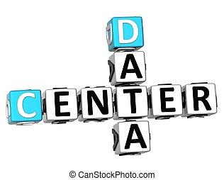 3D Data Center Crossword on white background