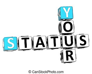 3D Your Status Crossword on white background