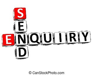 3D Enquiry Send Crossword on white background