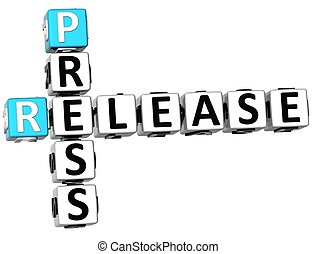 3D Press Release Crossword on white background